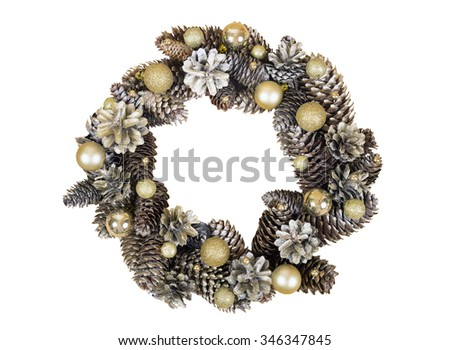 Christmas wreath of cones and gold balls isolated on white background. - stock photo