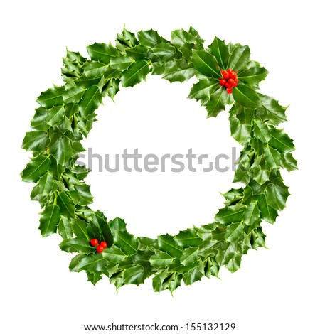 Christmas wreath of holly - green leaf isolated - stock photo