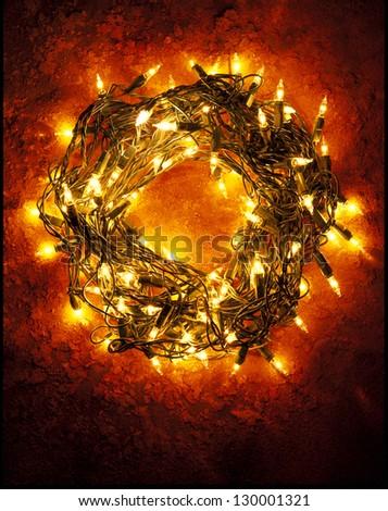 Christmas Wreath of Lights - stock photo