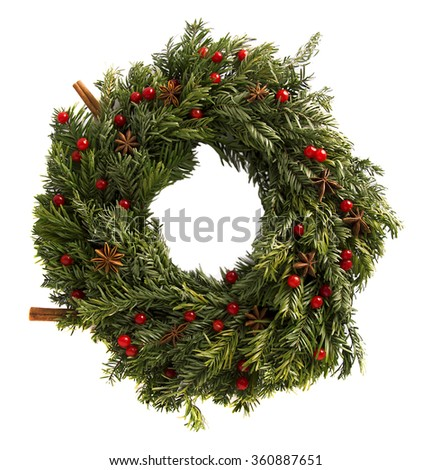 Christmas wreath on a white background. Isolated photo. - stock photo