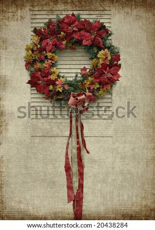 Christmas wreath on grunge background - stock photo