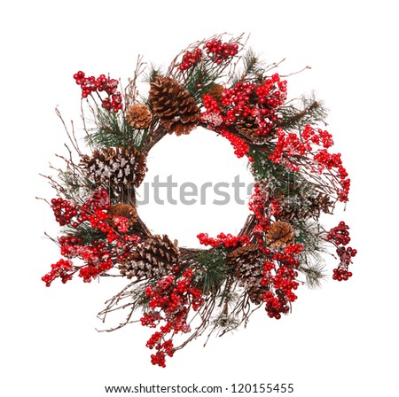 Christmas wreath on white background - stock photo