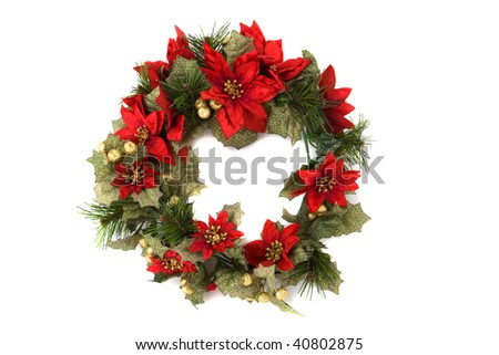 Christmas wreath on white background, bright flowers. - stock photo