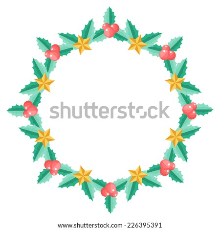 Christmas wreath or frame with holly berry and stars - stock photo