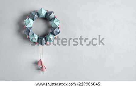 Christmas wreath, paper work - stock photo