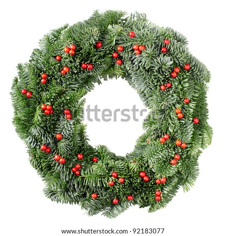 Christmas wreath pine and holly berry isolated on white background - stock photo