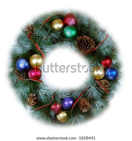 Christmas Wreath soft isolated - stock photo