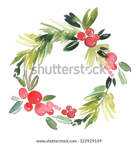 Christmas wreath watercolor. Handmade. Holiday card. - stock photo