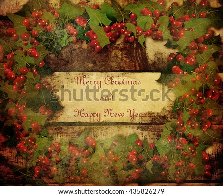 Christmas wreath with berries and text - stock photo
