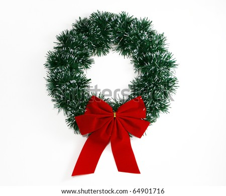 Christmas Wreath with Bow - stock photo