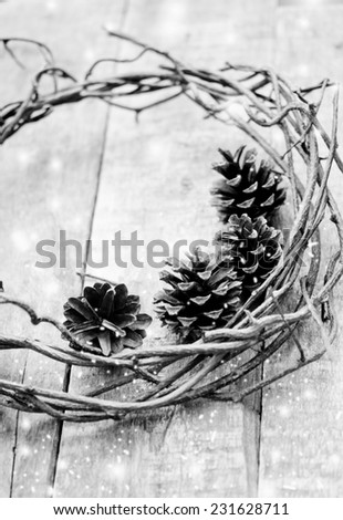 Christmas wreath with cone - stock photo