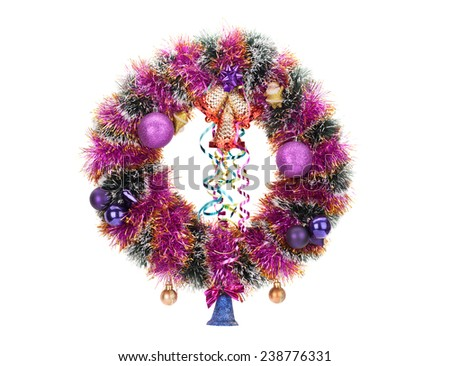 christmas wreath with decoration isolated on white