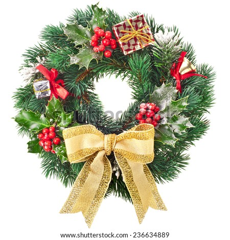 Christmas wreath with gold bow isolated on white background - stock photo
