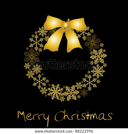 Christmas wreath with golden bow Raster version - stock photo