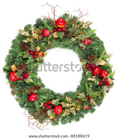 christmas wreath with golden decoration isolated on white - stock photo