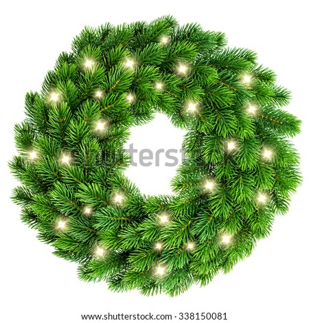 Christmas wreath with golden lights decoration isolated on white background - stock photo