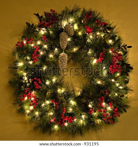 Christmas wreath with lights - stock photo