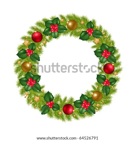 Christmas Wreath With New Year's Spheres, Stars, Streamer And Holly Berry, Isolated On White Background - stock photo