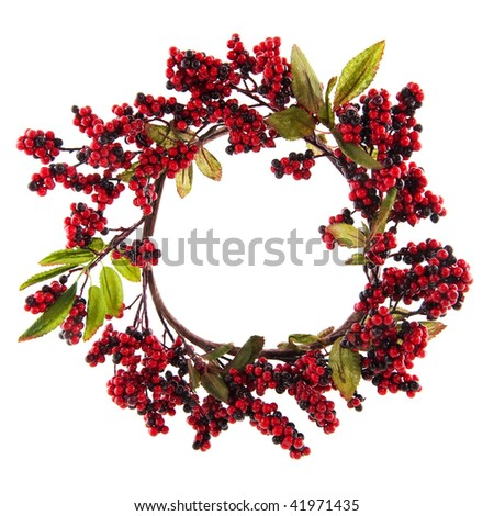 Christmas wreath with red berries and leaves isolated over white - stock photo