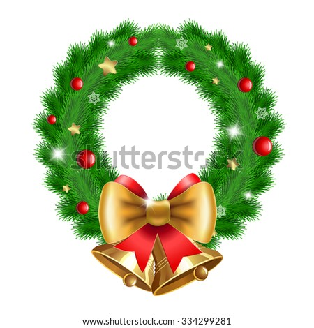 Christmas  wreath with red berries, Christmas decoration and two bells. For  posters, icons, greeting cards, print projects. Raster version - stock photo