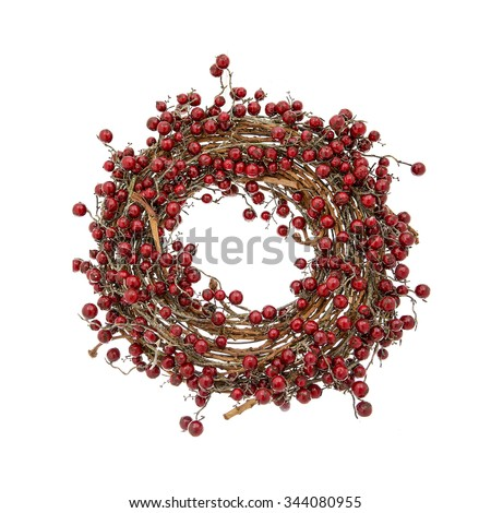Christmas wreath with red berries isolated on a white - stock photo