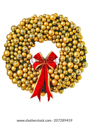 Christmas wreath with red ribbon and golden decoration, illustration isolated on white - stock photo