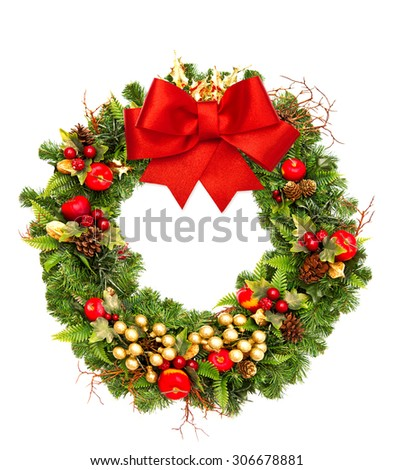 Christmas wreath with red ribbon bow and golden decorations isolated on white background. Merry Christmas! - stock photo