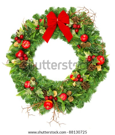 christmas wreath with red ribbon isolated on white - stock photo