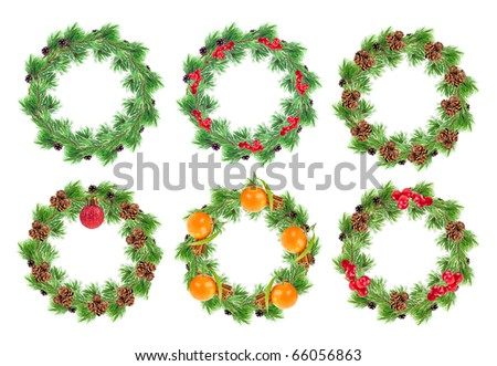 Christmas wreaths collection - stock photo