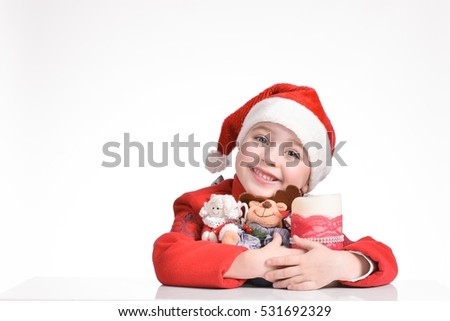 christmas, x-mas, winter, happiness concept - smiling girl in santa helper