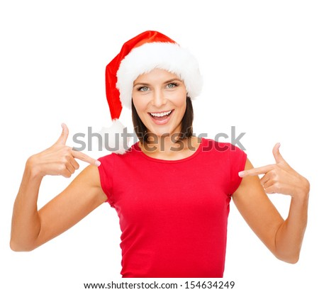 christmas, x-mas, winter, happiness concept - smiling woman in santa helper hat and red shirt - stock photo