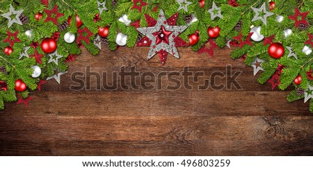 christmas xmas old rustic oak wood background with decoration decorated fir branches
