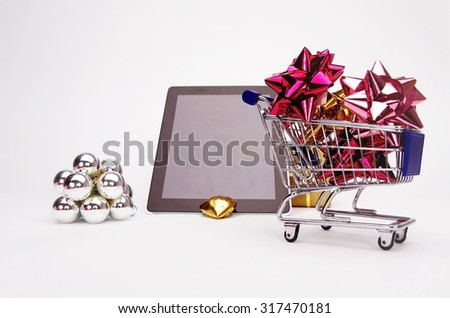 Christmas xmas shopping isolated on white background