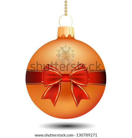 Christmas Yellow Ball With Bow. Raster Version - stock photo