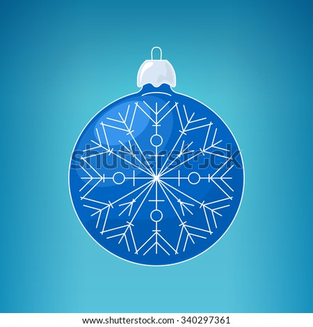 Christmas Yellow Blue with Snowflake , Christmas Ball  on a Blue Background , Christmas Tree Decoration, Merry Christmas and Happy New Year - stock photo