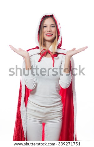 Christmas young girl dressed in red