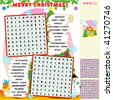 Christmas zigzag word search puzzle, answer included ( for vector EPS see image 82007782 )   - stock vector