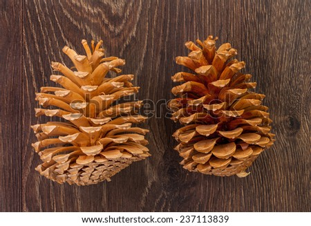 Christmass garlands on a wooden table