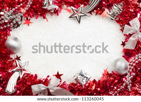 Christmass red and silver frame - stock photo