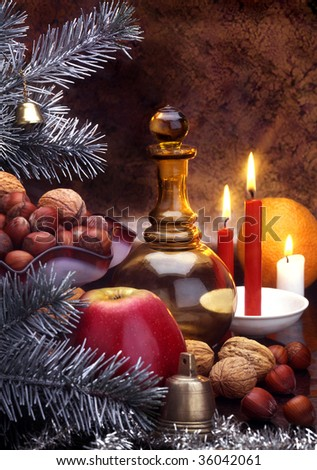 christmass still life with candles - stock photo