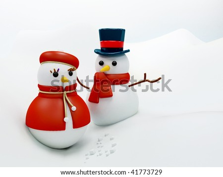 Christmassy snow man and woman over white - stock photo
