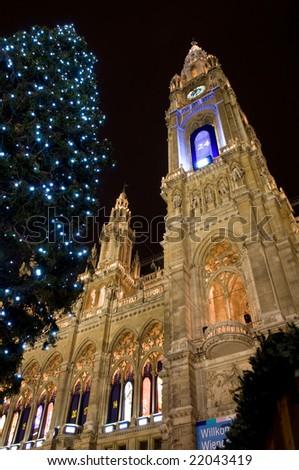 Christmastime town hall in Vienna, Austria - stock photo