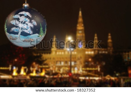 Christmastime town hall Vienna with decoration - stock photo