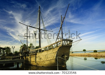 "Christopher Columbus Ships - La Pinta (""the painted one"", ""the spotted one""). - stock photo"