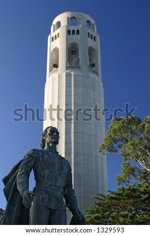 Christopher Columbus statue and Coit Tower monuments in San Francisco