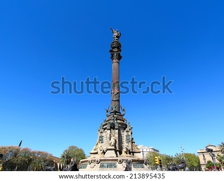 Christopher Columbus Statue in Barcelona, Spain - stock photo