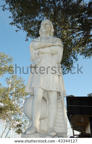 Christopher Columbus Statue in Pier Park at St Petersburg Florida