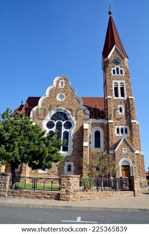 Christuskirche, famous Lutheran church landmark in Windhoek, Namibia  - stock photo