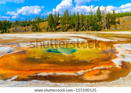 Chromatic Pool, Yellowstone National Park, Upper Geyser Basin, Wyoming - stock photo
