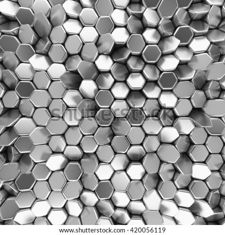 Chrome abstract hexagons backdrop. 3d rendering geometric polygons, as tile wall. Interior room - stock photo